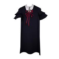 Школьная форма Платье (134-164)-рукав-2-ное крылышко, белый воротничок, красный бант синий 62139