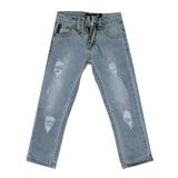 Джинсы (146-170)- на заднем  кармане-металическая эмблема,вываренные,рванки голубой хлопок 2741
