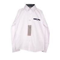 Школьная форма Рубашка (122-170)-д/р,синяя отделка внутри, карман-листочка с синей петелькой белый 70736