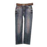 Джинсы (140-176)-Дискваред, прямые с ремнём, царапки. На заднем кармане металлическая эмблема 64 синий хлопок 5055