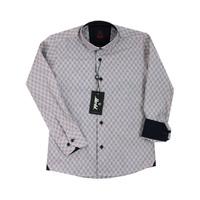 Рубашка (6-14)-д/р,ромбик с квадратиком баклажан хлопок 1 1085-2