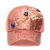 Кепка (Цветочки)-с паетками розовый 037