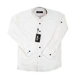 Рубашка (6-14)-д/р,с квадратными синими заклёпками белый лён 1001-1