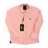 Рубашка (6-14)-д/р, Лошадки-эмблема розовый хлопок 1018-4