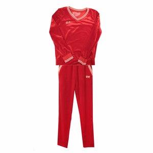 Костюм (15-23) брюки с кофтой, воротник и манжеты на резинке красный вилюр 782274