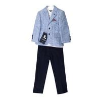 Костюм (12м-3) 3-ка пиджак с платочком+рубашка белая+брюки т.синиии с ремнем голубой хлопок 8727