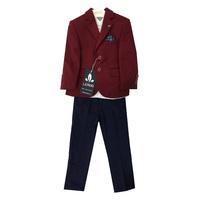 Костюм (12м-3) 3-ка пиджак с платочком+рубашка белая+брюки т.синиии с ремнем бордо хлопок 8790