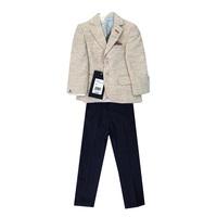 Костюм (12м-3) 4-ка пиджак с платочком+шарф+рубашка белая+брюки т.синиии с ремнем бежевый хлопок 8723