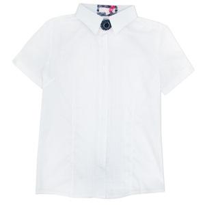 Школьная форма Блузка (13-21)-к/р,классика, с тонкими складочками и брошкой белый хлопок 560620-1M