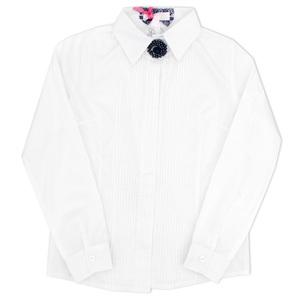 Школьная форма Блузка (23-27)-д/р,классика, с тонкими складочками и брошкой белый хлопок 560620-L