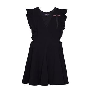 Школьная форма Сарафан (5-12)-спереди с запахом и рюшей, юбка-солнце с резинкой по бокам, бант в бело-красную полоску синий габардин 70843