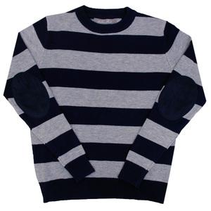 Школьная форма Кофта (13-21)-серая полоска, с шарфом синий шерсть 1006