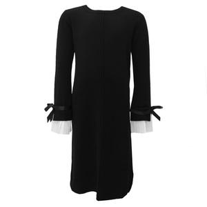 Школьная форма Платье (15-23)-прямое, д/р с белым гафре манжетом чёрный шерсть 2038