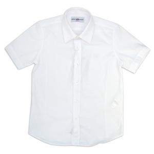 Школьная форма Рубашка (6-16)-к/р, мелкая полоска белый хлопок 7035
