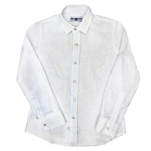 Рубашка (7-15)-д/р,на клепках белый хлопок со льном 347/17
