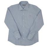 Рубашка (7-15)-мелкая клеточка , с металлическим аксессуаром голубой хлопок 6004