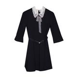 Школьная форма Платье (122-152)-с белым ажурным воротником и манжетами,поясоми и брошкой-галстуком синий 62525