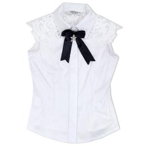 Школьная форма Блузка (5-16) - рукав - крылышко, шитье с сеткой, аксессуар - бантик со звездой белый сатен 11413