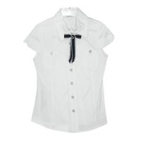 Школьная форма Блузка (7-20)-к/р с треугольным вырезом, 2-кармана, с чёрно/белыми пуговицами белый 11894