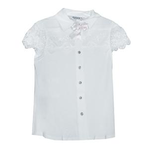 Школьная форма Блузка (5-16)-к/р,кружевная кокетка и рукав, трикотаж белый 20470