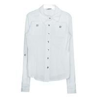 Школьная форма Блузка (7-20)-д/р,классика, 2-кармана, с металическими пуговицами и аксессуарами белый сатен 11938