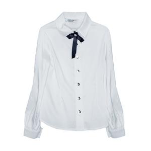 Школьная форма Блузка (5-20)-д/р,классика, вдоль рукава ажурная тесьма белый сатен 12004