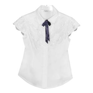Школьная форма Блузка (5-10)-к/р,широкая 2-ная кружевная рюша белый сатен 11781
