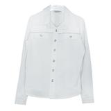 Школьная форма Блузка (5-20)-д/р,классика,кокетка с серебрянным кантом, 2-кармана, с металическими пуговицами белый 12008