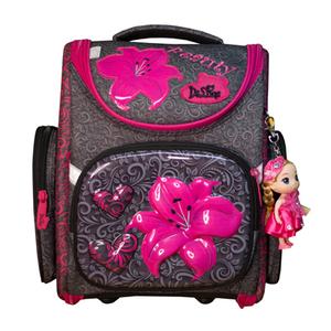 Рюкзак (ортопедический)-Лилия малиновая  на жёстком  кармане, брелок-куколка серый 3-160
