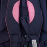 Рюкзак (ортопедический)-с розовой лентой и пуговицей, розовая клетка на кармане синий с розовым Х673