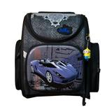 Рюкзак (ортопедический)-Синий кадилак в городе,  с брелком -Минион чёрный с серым 3-163