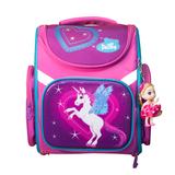 Рюкзак (ортопедический)-Единорожка  на жёстком  кармане с голубыми вставками, брелок-куколка Малиновый KH010