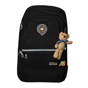 Рюкзак (ортопедический)-с серебристой полосой,3-замка, на кармане цветная печать, брелок-мишка чёрный Х702