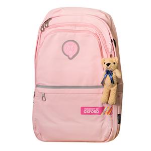 Рюкзак (ортопедический)-с серебристой полосой,3-замка, на кармане цветная печать, брелок-мишка розовый Х702