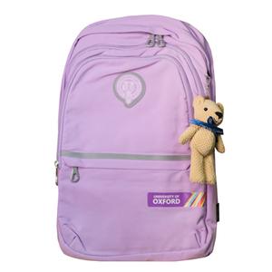 Рюкзак (ортопедический)-с серебристой полосой,3-замка, на кармане цветная печать, брелок-мишка Сиреневый Х702