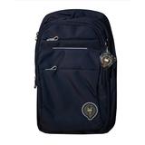 Рюкзак (ортопедический)-с карабином на лямке ,3-замка, эмблема, с боку на кармане синий Х697