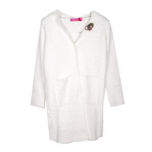 Пальто (15-23)-стриженное,на потайных кнопках,2-кармана, брошка-цветочек молочный 287108