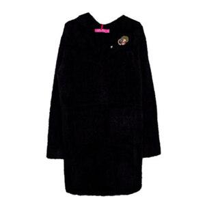 Пальто (15-23)-стриженное,на потайных кнопках,2-кармана, брошка-цветочек чёрный 287108