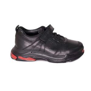 Кроссовки (31-36)- на одной липучке, вставки из перфорированной кожи, на подошве красные вставки чёрный кожа 328-65