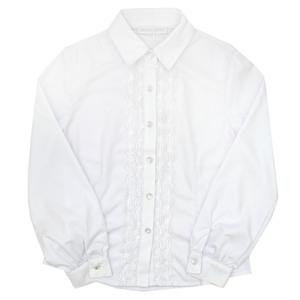Школьная форма Блузка (116-164) - д/р, шитье вдоль планки белый сатен 701234