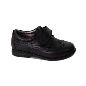 Туфли (22-25)-классика, на липучке,узорчатый нос и пятка чёрный кожа 740-18100-01