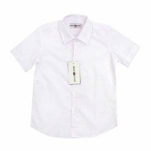 Школьная форма Рубашка (6-15)-к/р, гладкая , с эмблемой белый хлопок 1020