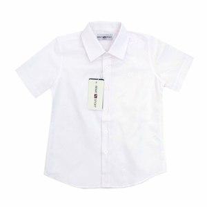 Школьная форма Рубашка (6-15)-к/р,мелкая полоска белый хлопок 7035