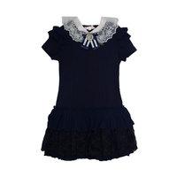 Школьная форма Платье (11-19)-рукав 2-ное крылышко,многоярусная юбка,гафре с гипюром, белый воротник синий 561747