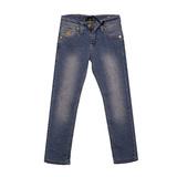 Джинсы (146-170)-с жёлтой вышивкой на заднем кармане голубой хлопок 2711