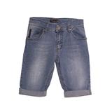 Шорты джинсовые (116-140)-с синей  вышивкой -эмблемой на кармане с подворотом голубой хлопок 2465