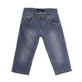 Шорты джинсовые (128-158)-с синей  эмблемой на кармане, вываренные голубой хлопок 3026