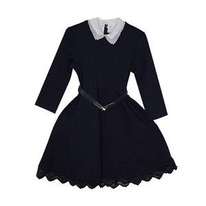 Школьная форма Платье (122-152)- 3/4 рукав,снизу шитьё , резиновый пояс с золотистой застёжкой, с белым воротником синий 61979