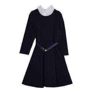 Школьная форма Платье (134-164)- 3/4 рукава с мерешкой , резиновый пояс с золотистой застёжкой, с белой манишкой синий 61999