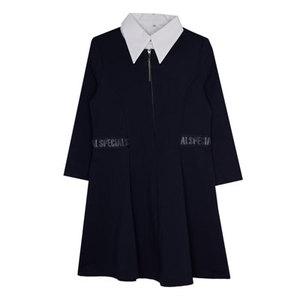 Школьная форма Платье (122-170)-на замке,на поясе лента с буквами + белая манишка синий 62206